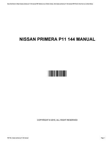 nissan primera p11 manual ebook