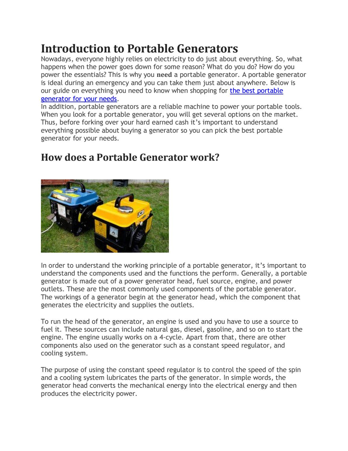 Buyers Guide How To Choose The Best Portable Generator By Handy Does An Electric Work Generators Issuu
