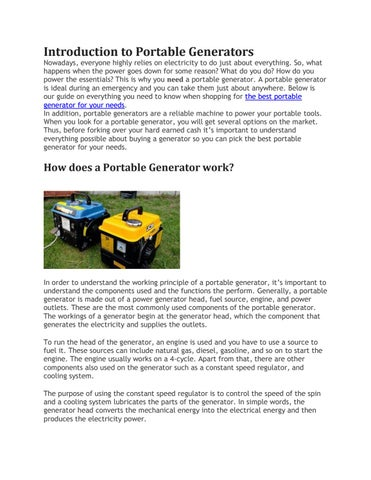Buyers Guide - How To Choose The Best Portable Generator by Handy