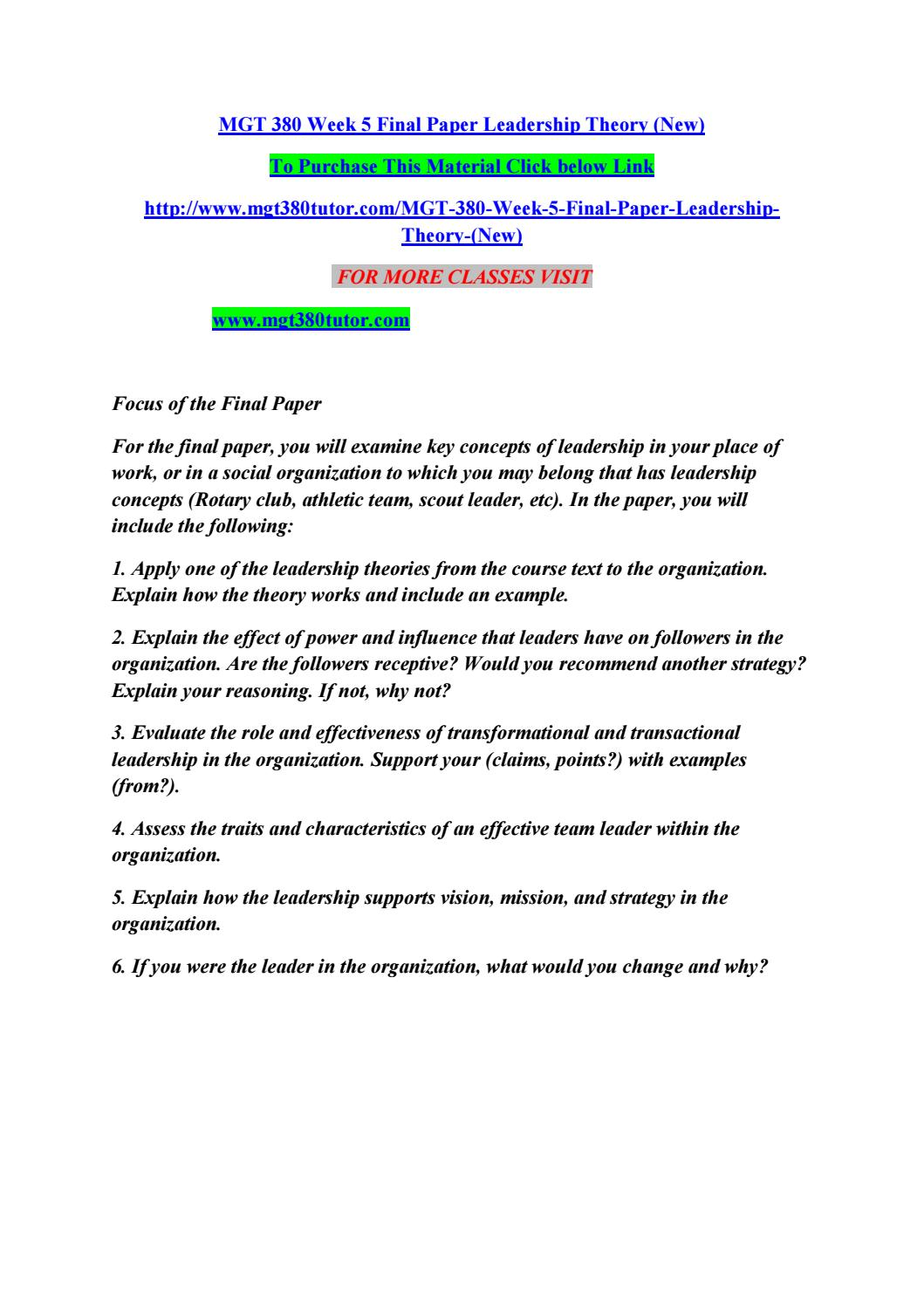 Mgt 380 week 5 final paper leadership theory (new) by singht