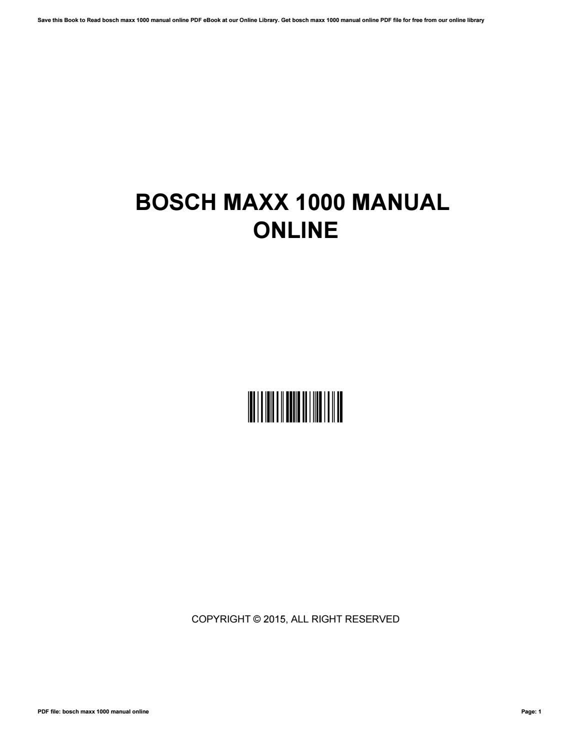 Bosch Maxx 1000 Manual Online By Thomassalter3888 Issuu border=