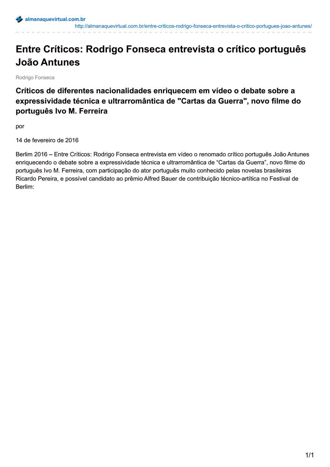 CARTAS DA GUERRA_20160214_Almanaque Virtual [pt] by O Som e