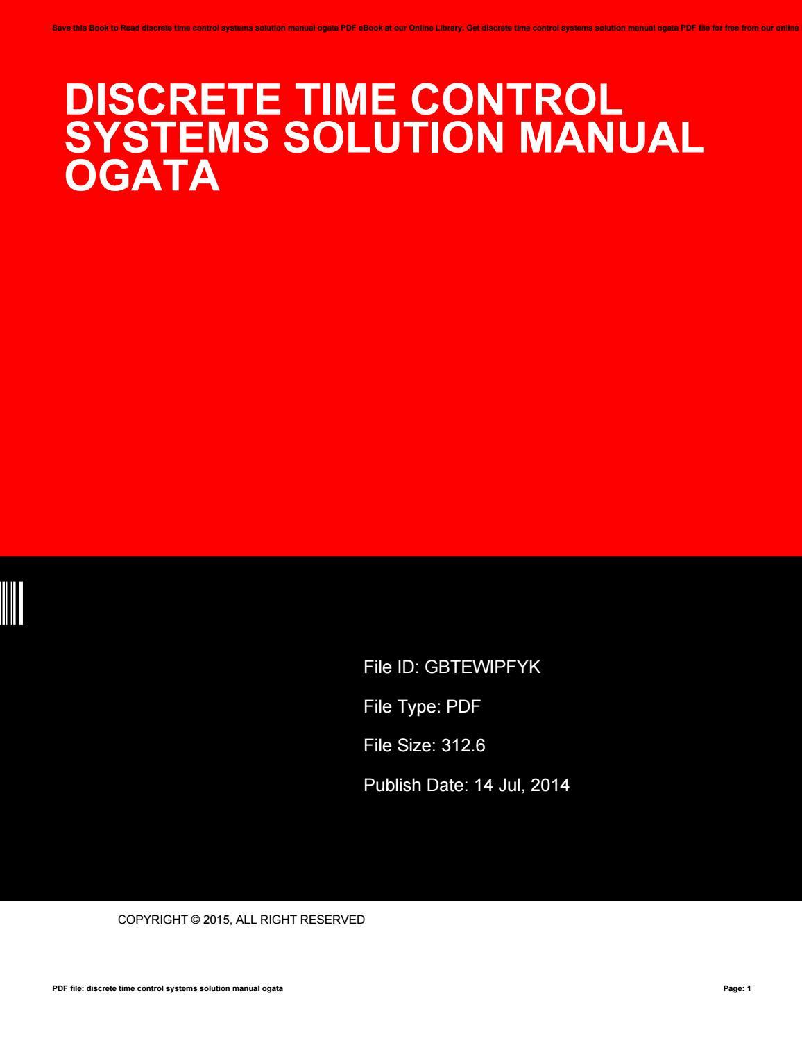 Discrete time control systems solution manual ogata by FreddieSmith2570 -  issuu
