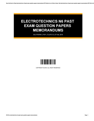 n6 question papers memorandum electrotechnics