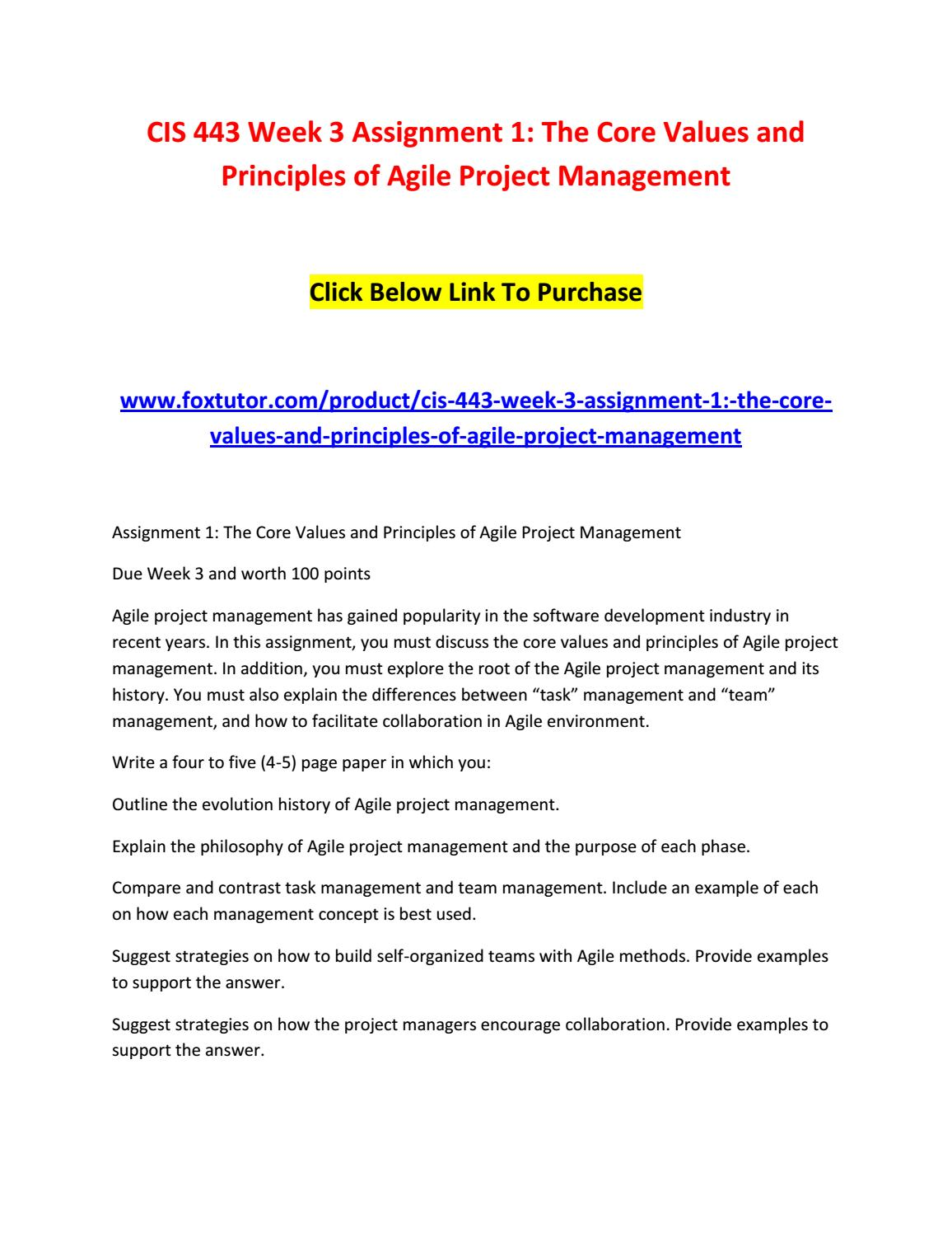 cis week assignment the core values and principles of  cis 443 week 3 assignment 1 the core values and principles of agile project management by cis443ft issuu