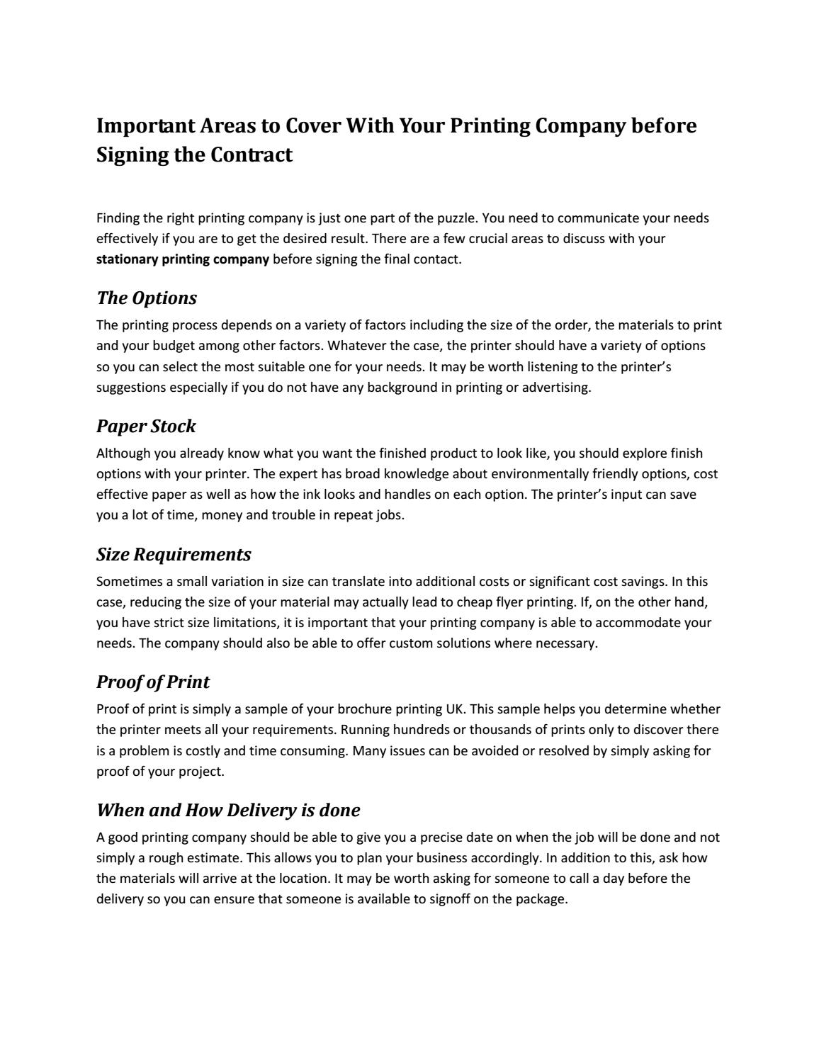 important areas to cover with your printing company before signing