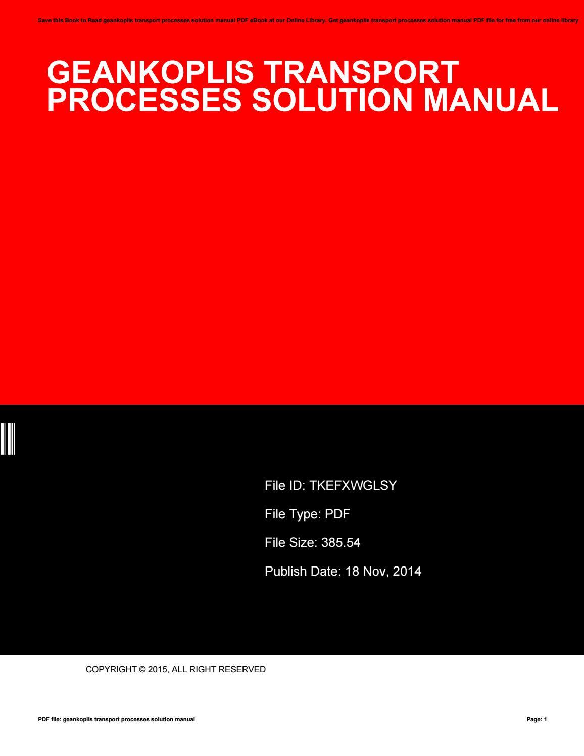 geankoplis transport processes solution manual by myrticeemerson2300 rh issuu com Chemical Engineering Transport Phenomena Transport Phenomena Examples