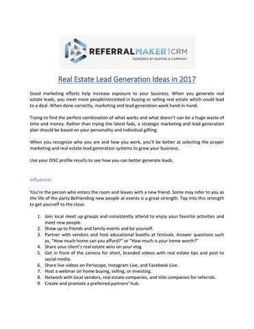 real estate lead generation ideas in 2017 by referral maker issuu