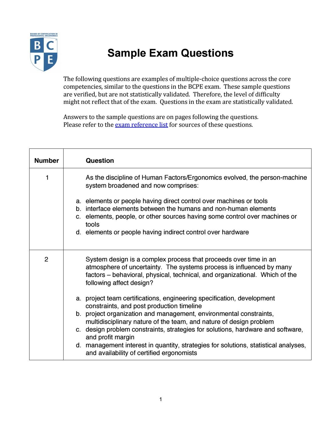 M bcpe sample questions answers jul141 by van n gassa issuu 1betcityfo Choice Image