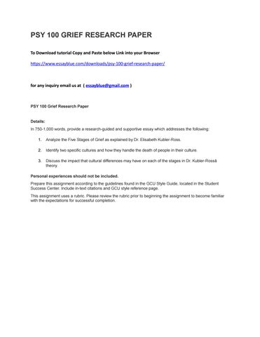 research paper on grief