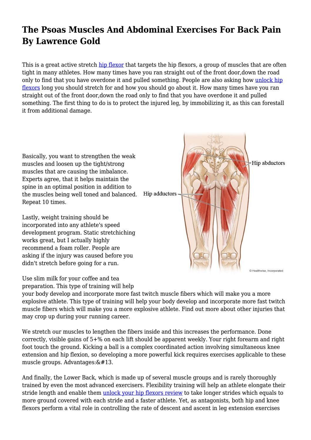The Psoas Muscles And Abdominal Exercises For Back Pain By Lawrence