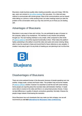 Top 6 Alternatives to BlueJeans Video Conferencing by ezTalks - issuu