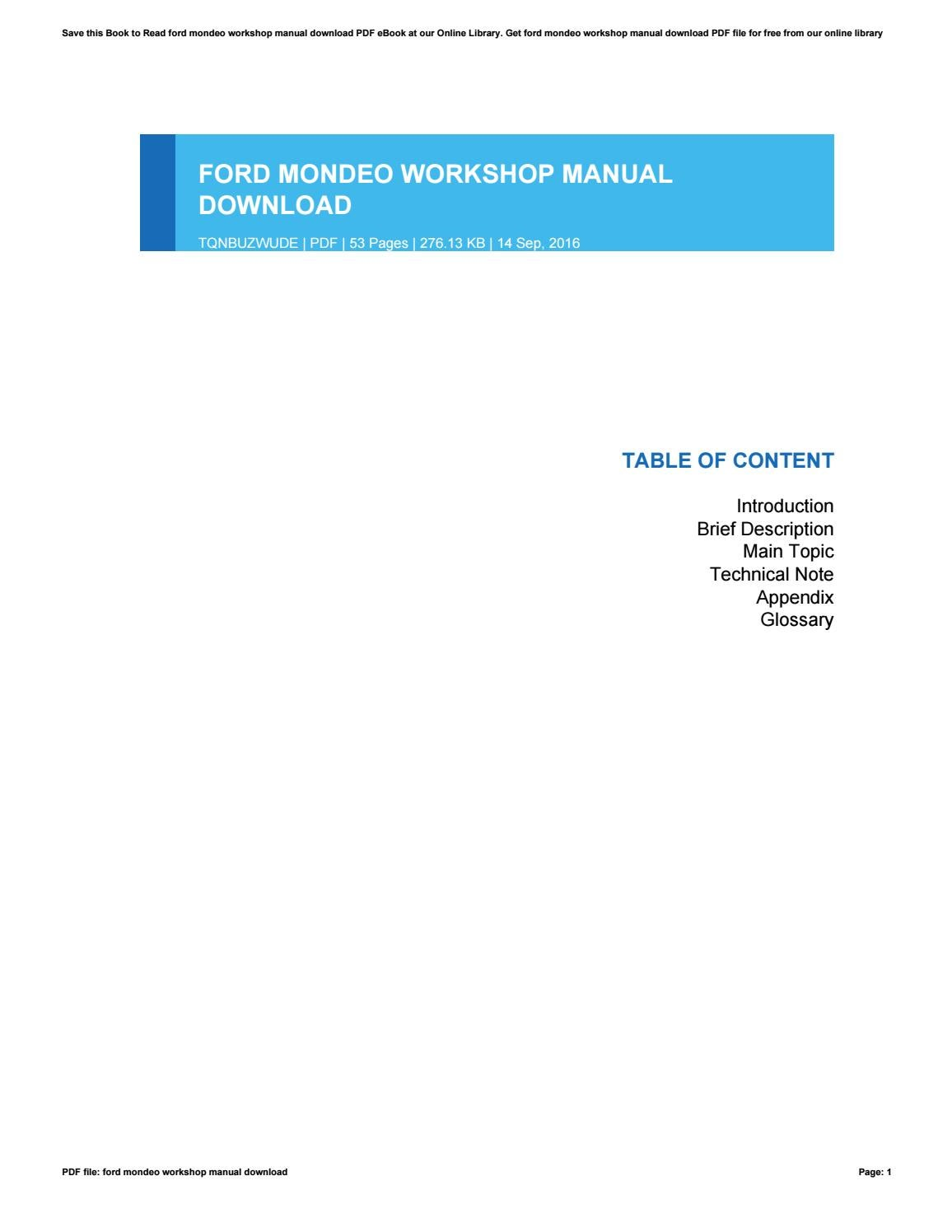 Tag 2016 Ford Mondeo Workshop Manual Ecosport 2014 B515 Wiring Diagram Auto Repair Forum