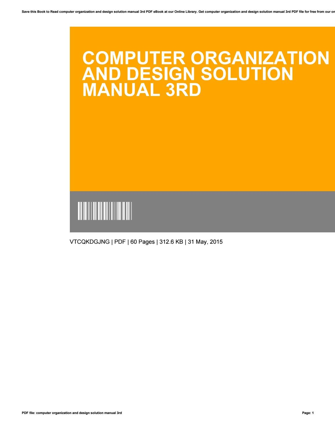 Computer Organization And Design Solution Manual 3rd By Elizabethrobinson4888 Issuu