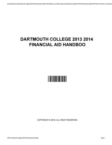 Dartmouth Financial Aid >> Dartmouth College 2013 2014 Financial Aid Handboo By