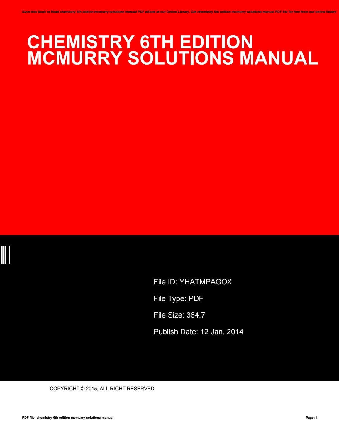 Chemistry 6th edition mcmurry solutions manual by KristenCarlson3156 - issuu