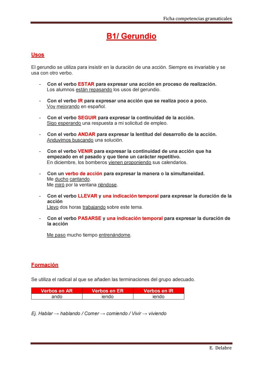 """Gramática b1 gerundio by Sanchez """"Huerto del idioma"""" Marjorie - issuu"""
