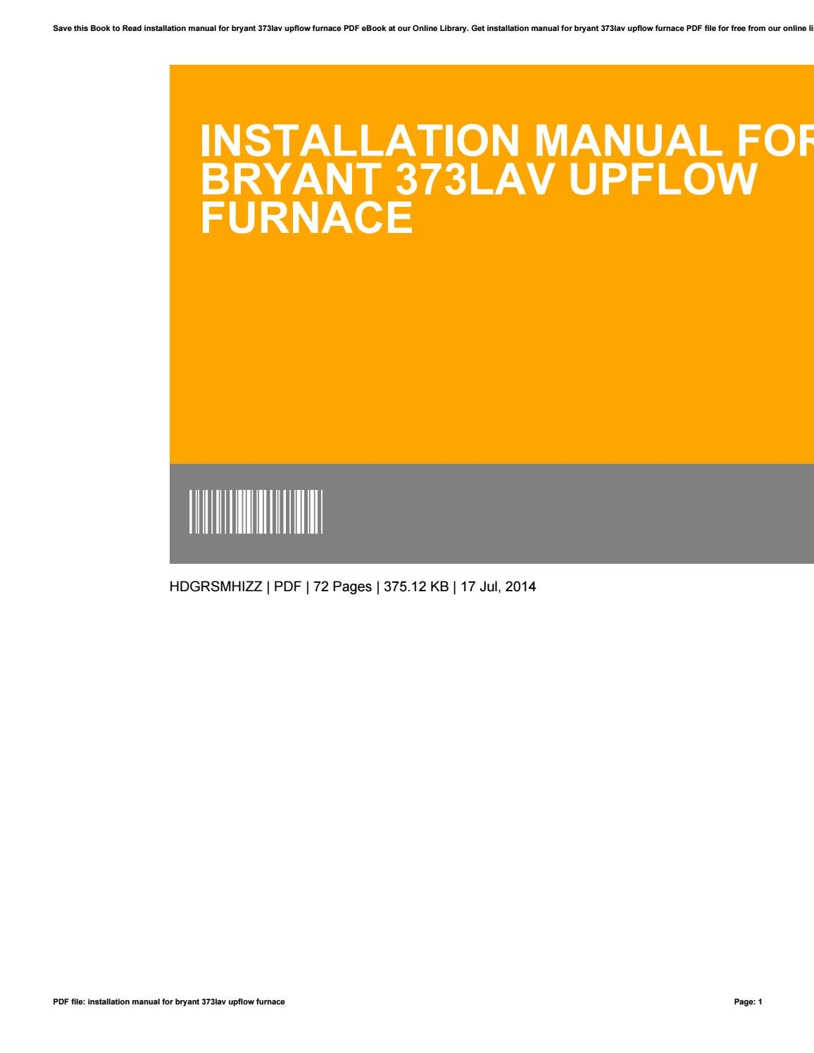 Installation manual for bryant 373lav upflow furnace by  MargueriteHirsch4701 - issuu