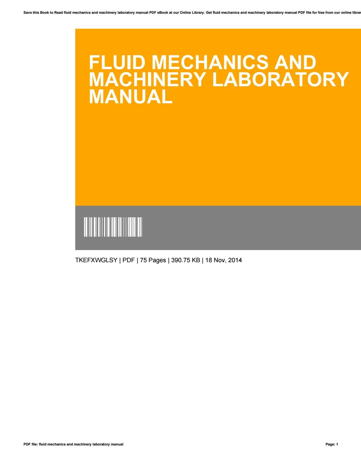 Fluid mechanics and machinery laboratory manual by MargueriteHirsch4701 -  issuu