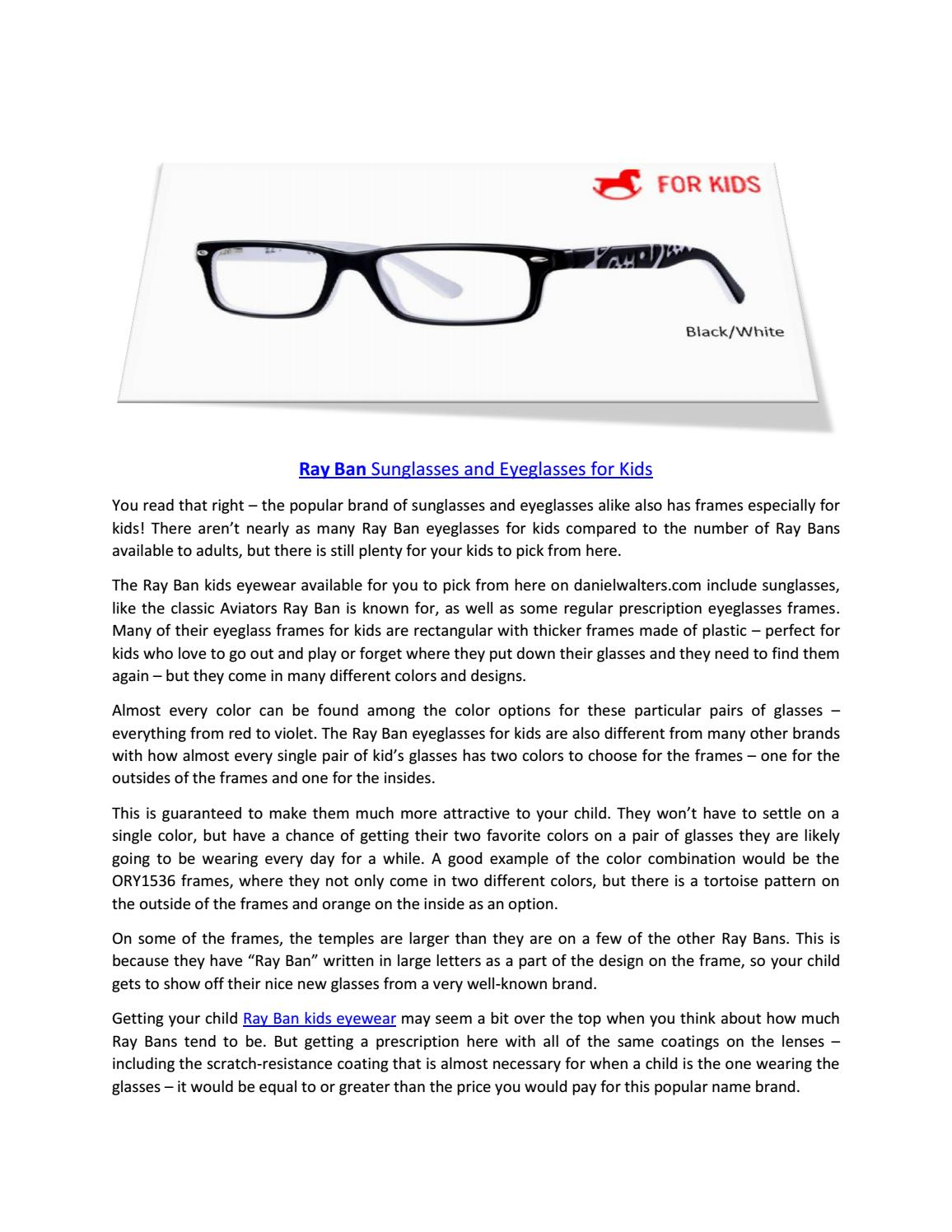 RayBan Sunglasses and Eyeglasses for Kids by Daniel Walters Eyewear ...