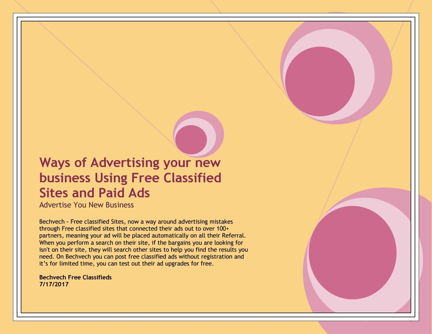 Ways of Advertising your new business Using Free Classified