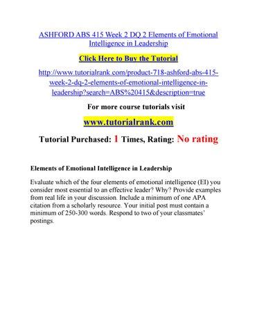 Ashford Abs 415 Week 2 Dq 2 Elements Of Emotional Intelligence