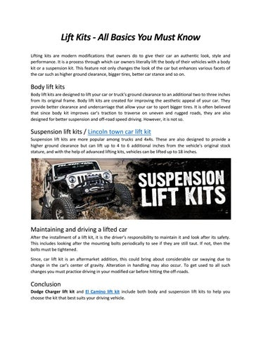 Lift Kits All Basics You Must Know By Lifta Brand Issuu