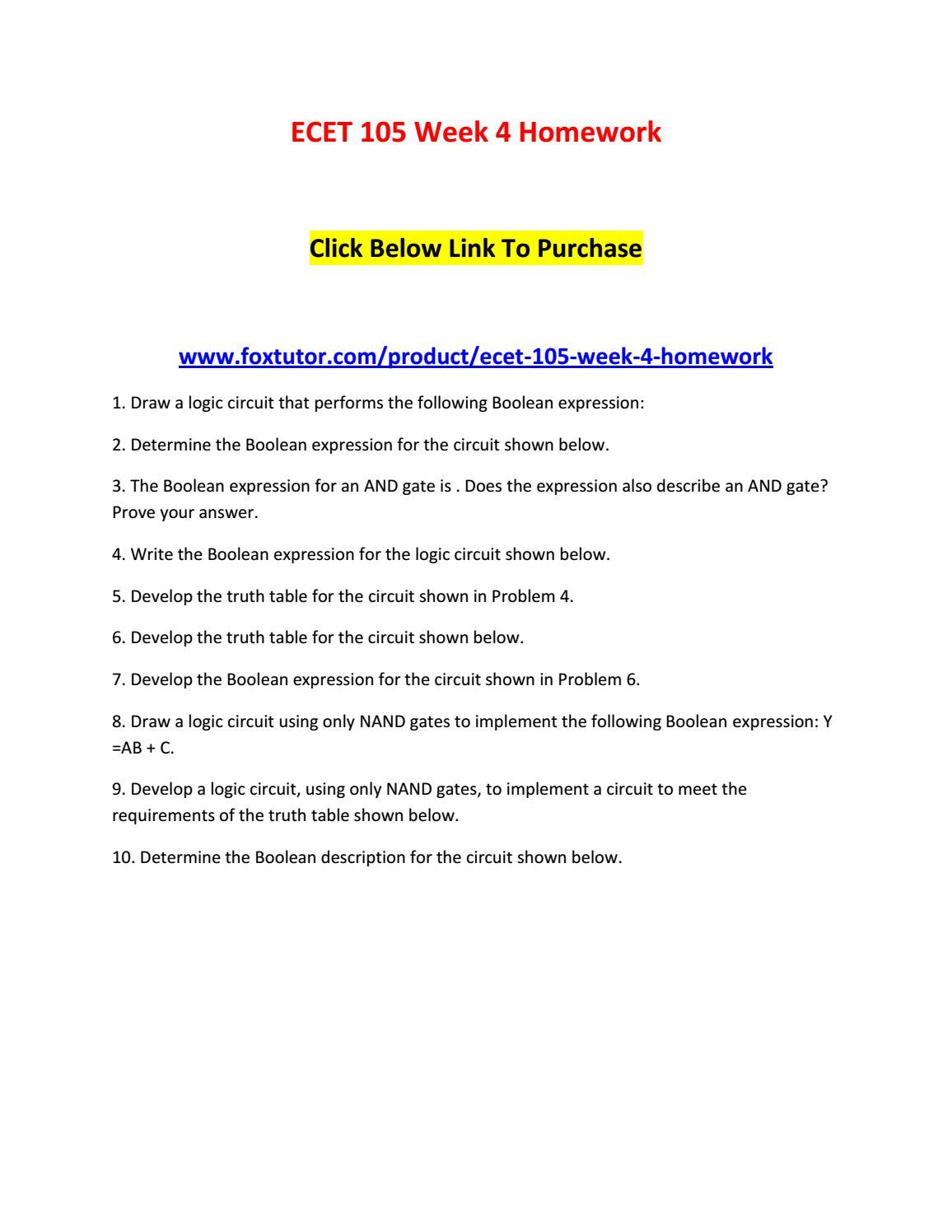 Ecet 105 Week 4 Homework By Ecet105ft Issuu Logic Diagram Using Nand Gates Only