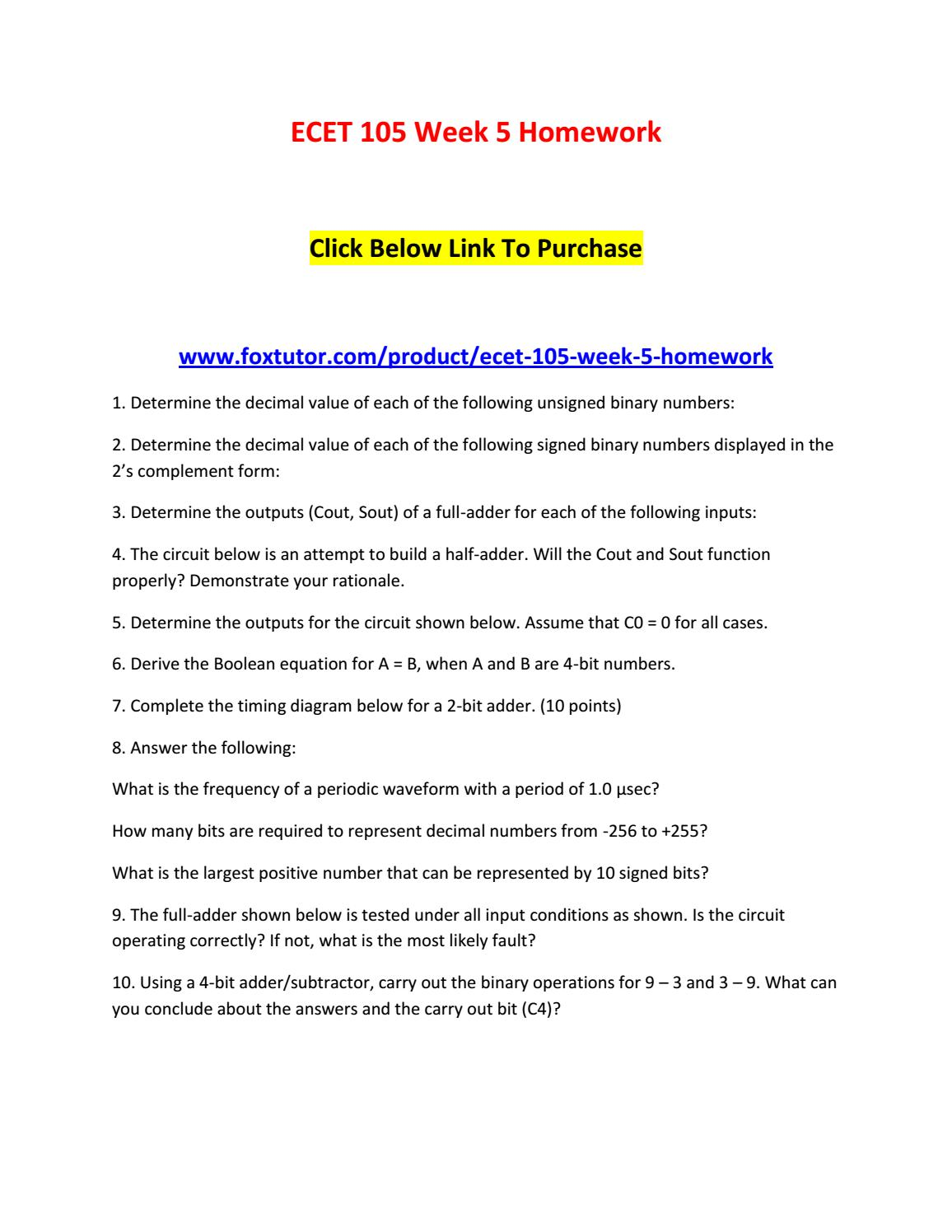 Ecet 105 Week 5 Homework By Ecet105ft
