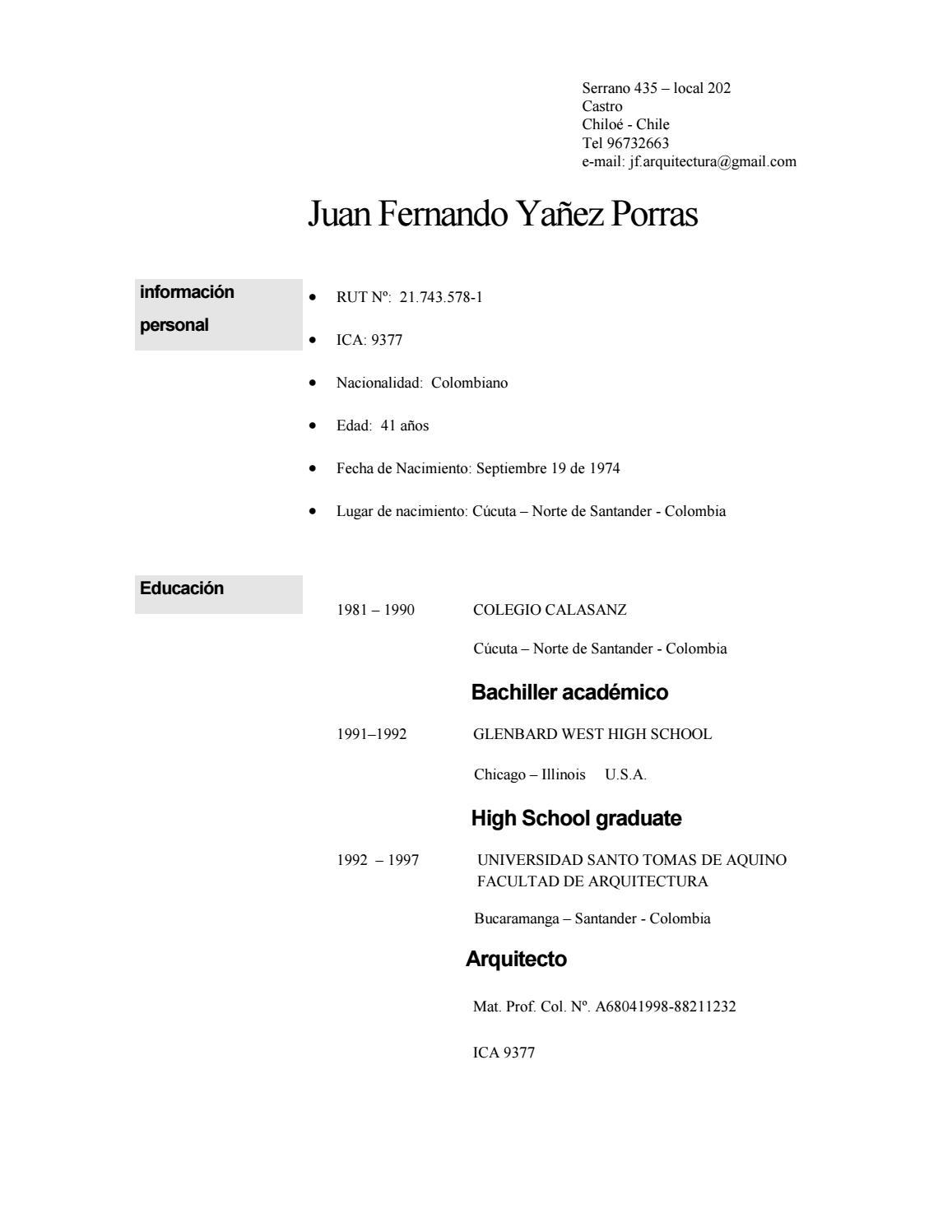 Curriculum Vitae Juan Fernando Yañez by jorge inostroza - issuu