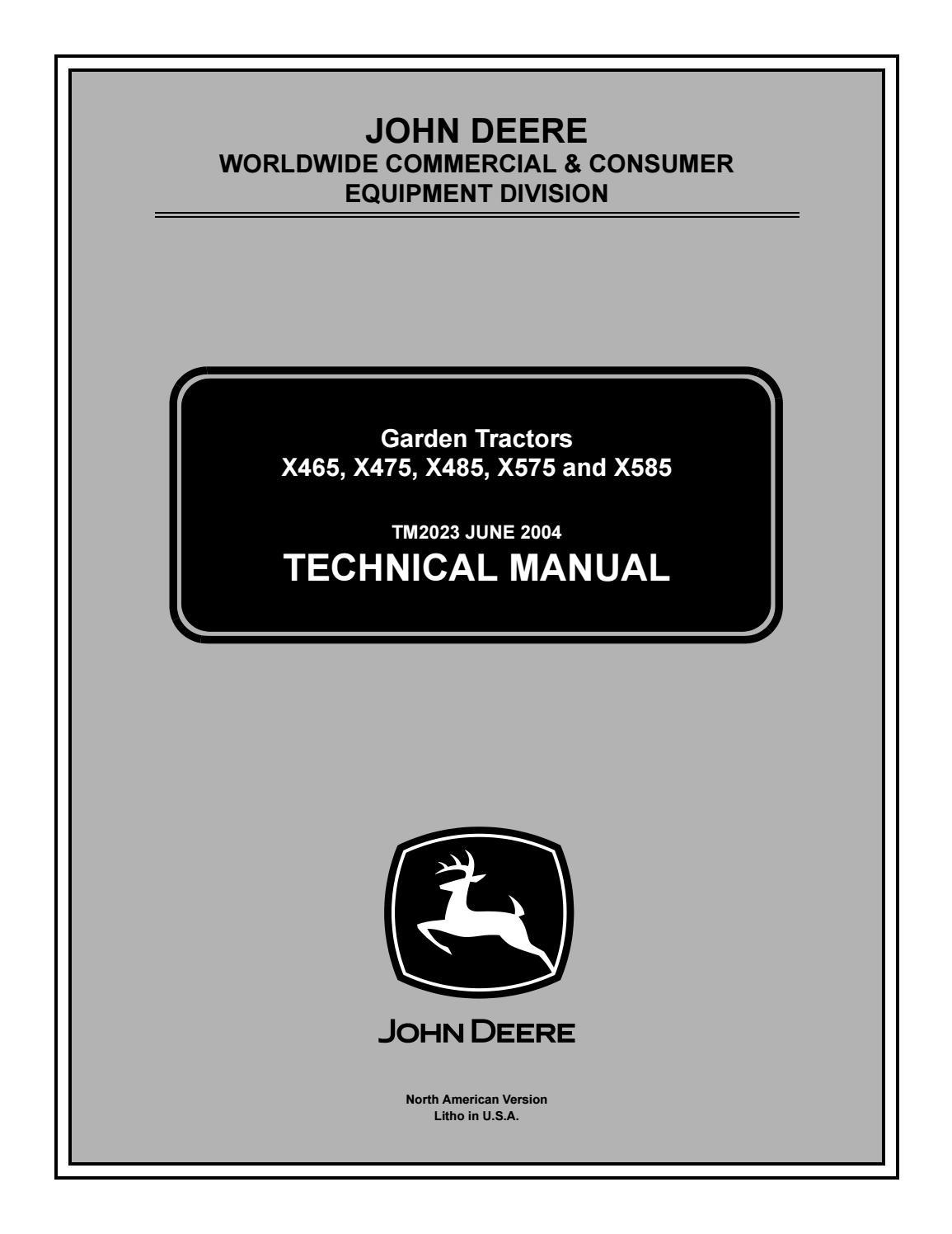 John deere x485 lawn & garden tractor service repair manual by jhjnyiksmm -  issuu | X485 John Deere Wiring Diagram |  | Issuu