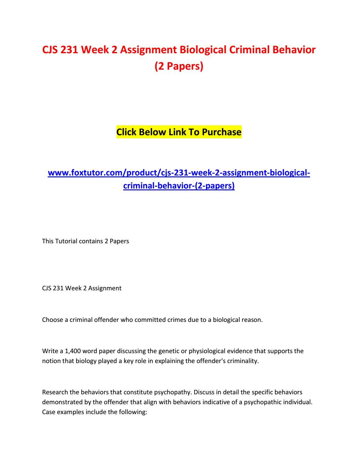 biological criminal behavior andrea ya Database of free criminology essays - we have thousands of free essays across a wide range of subject areas  biological criminal behavior - profile of andrea .