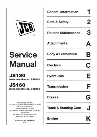 Jcb js130 tracked excavator service repair manual (sn js130 758000