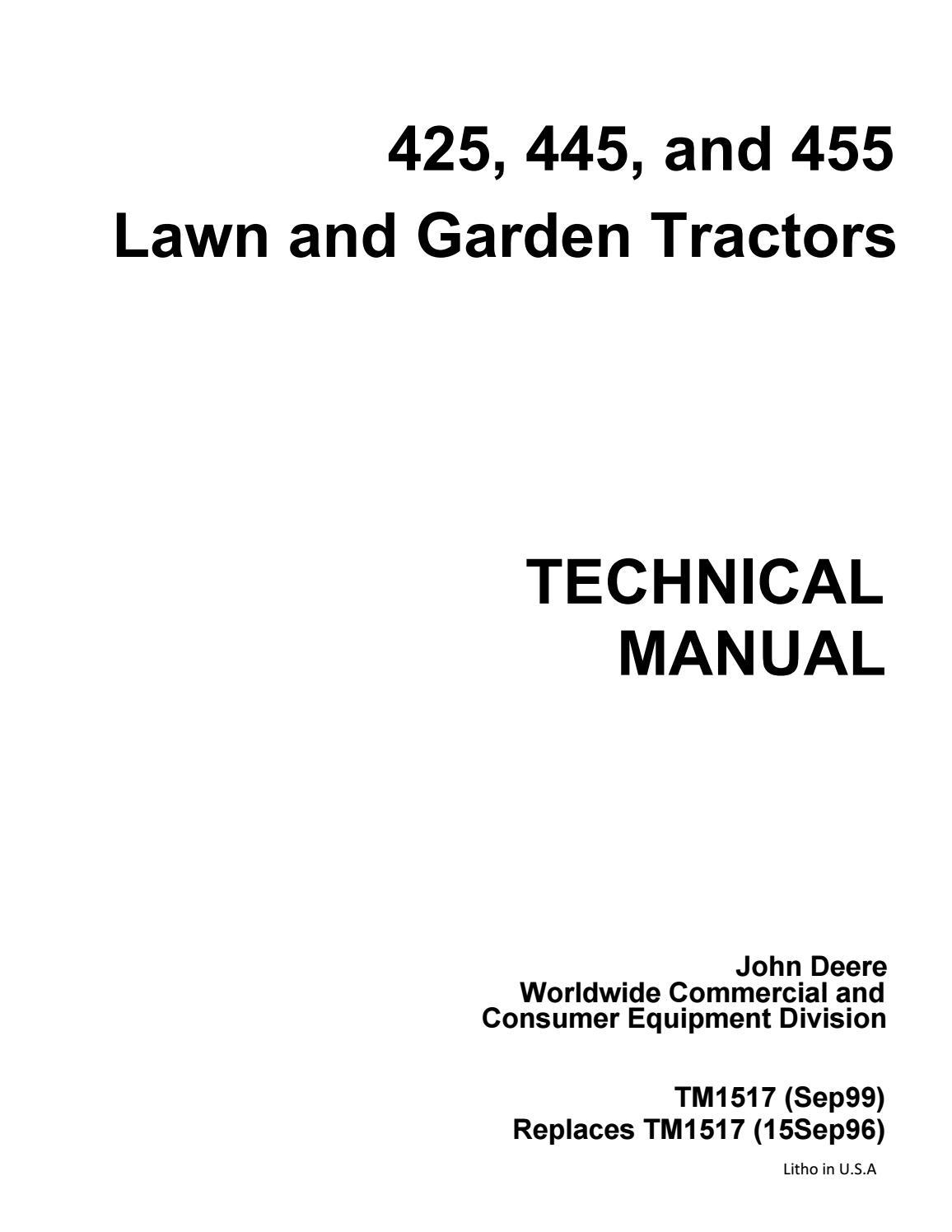 John Deere 425 Lawn Garden Tractor Service Repair Manual By Kjsmfmmf 7 Pin Plug Wiring Diagram Free Download Issuu