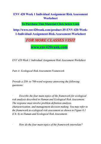 Env  Week  Individual Assignment Risk Assessment Worksheet By