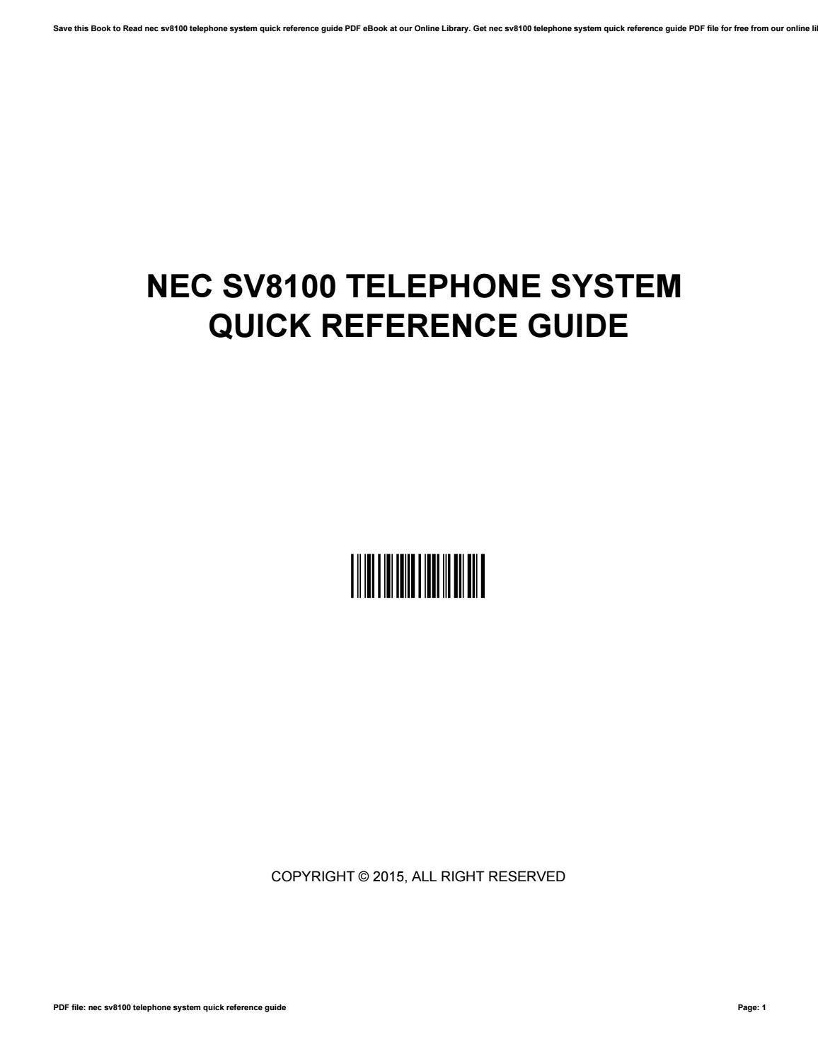 Nec sv8100 telephone system quick reference guide by ClarenceDunn3399 -  issuu