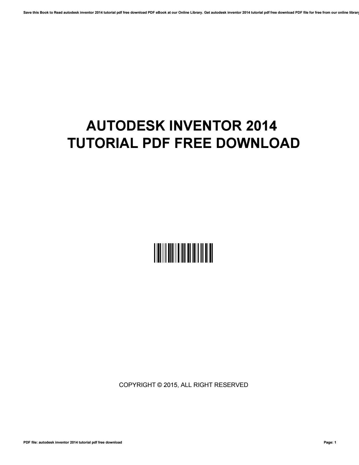 Autodesk inventor 2014 tutorial pdf free download by