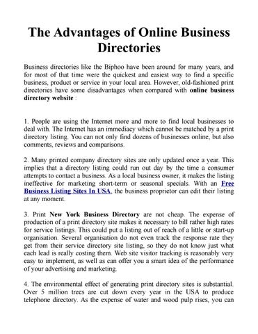 the advantages of online business directories by online business