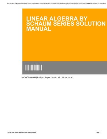 Linear Algebra By Schaum Series Solution Manual By
