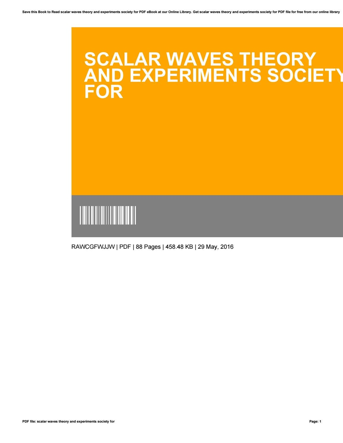 Scalar waves theory and experiments society for by