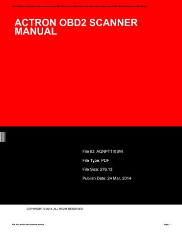 actron obd ii scanner manual