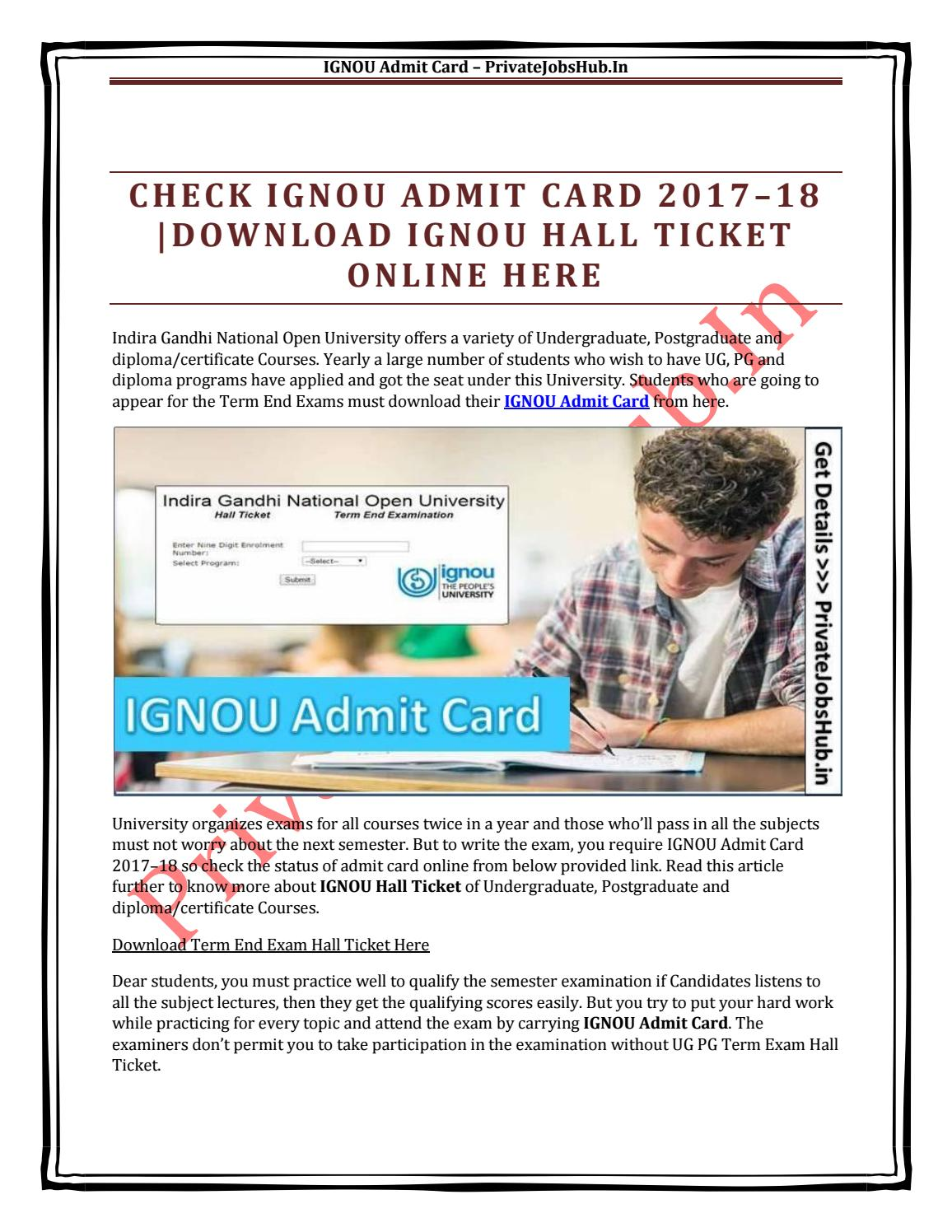 Check Ignou Admit Card 2017 18 Download Ignou Hall Ticket Online Here By Privatejobshub Issuu