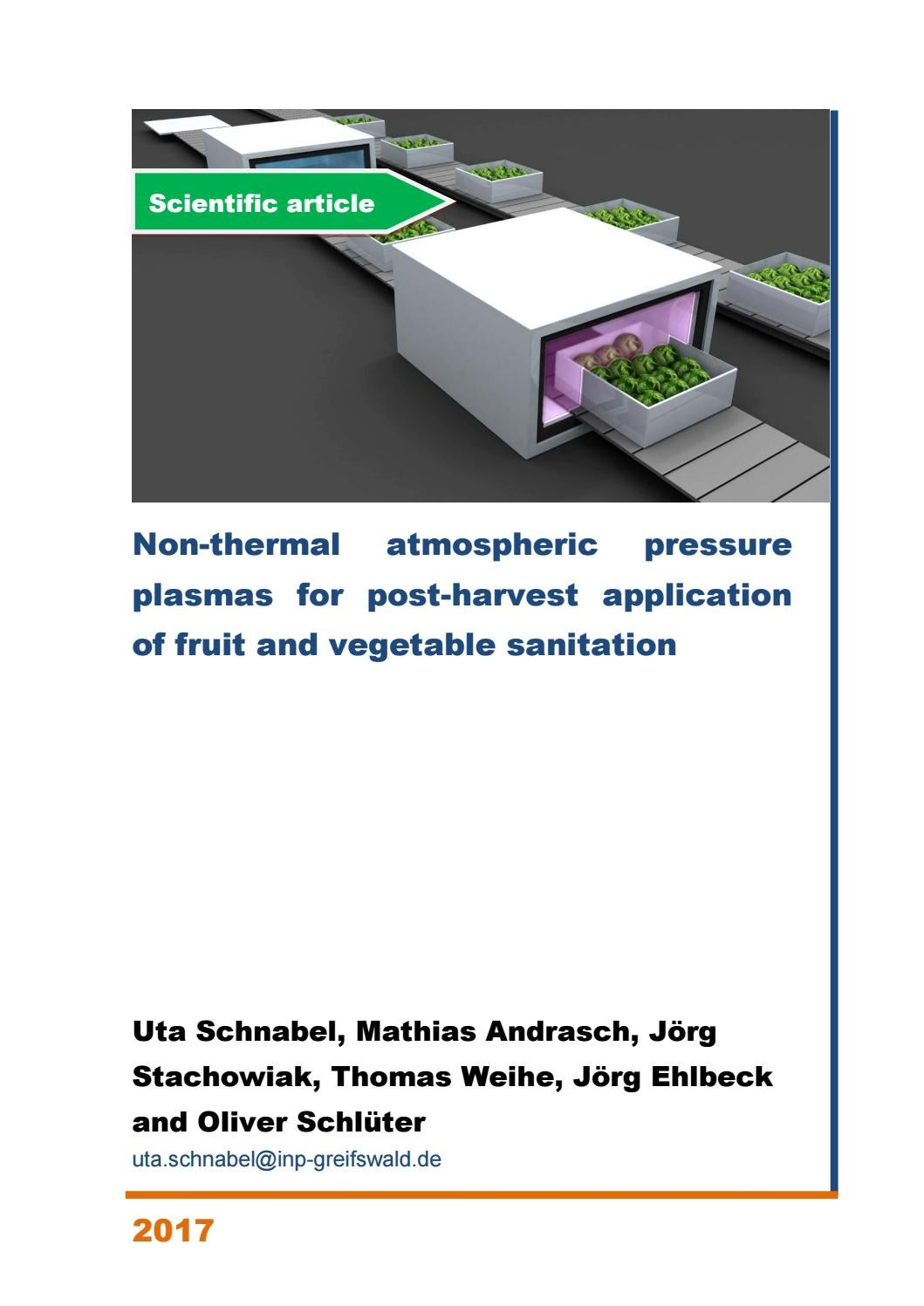 Non-thermal atmospheric pressure plasmas for post-harvest