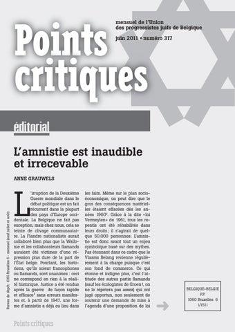 ce367130ed5b5 mensuel de l'Union des progressistes juifs de Belgique juin 2011 • numéro  317