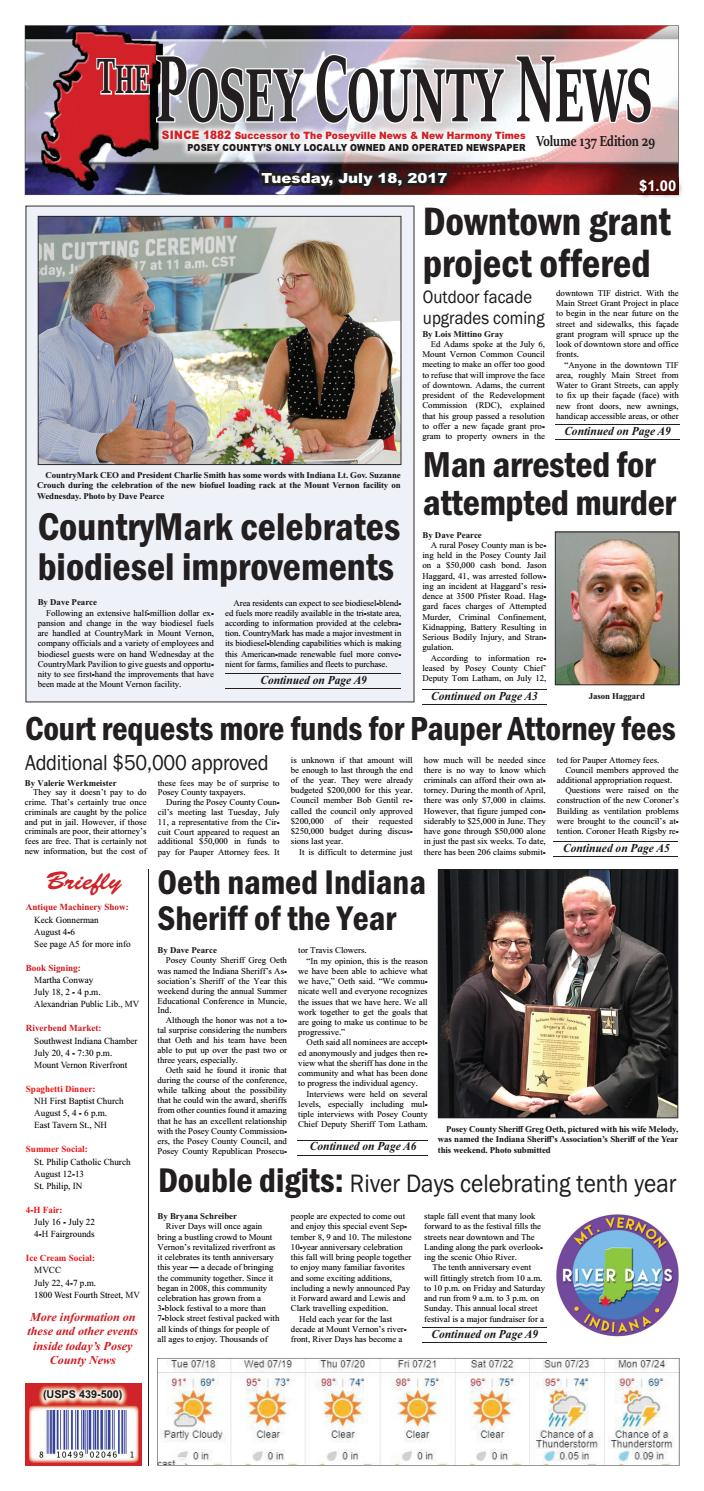 July 18, 2017 - The Posey County News by The Posey County News - issuu