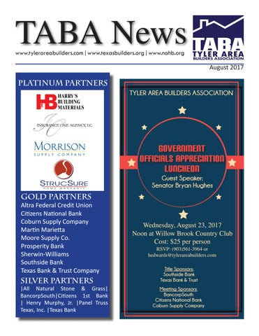 August 2017 Newsletter By Tyler Area Builders Association Issuu