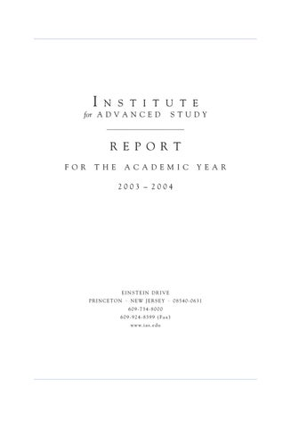 Annual Report 2003-04 by Institute for Advanced Study - issuu