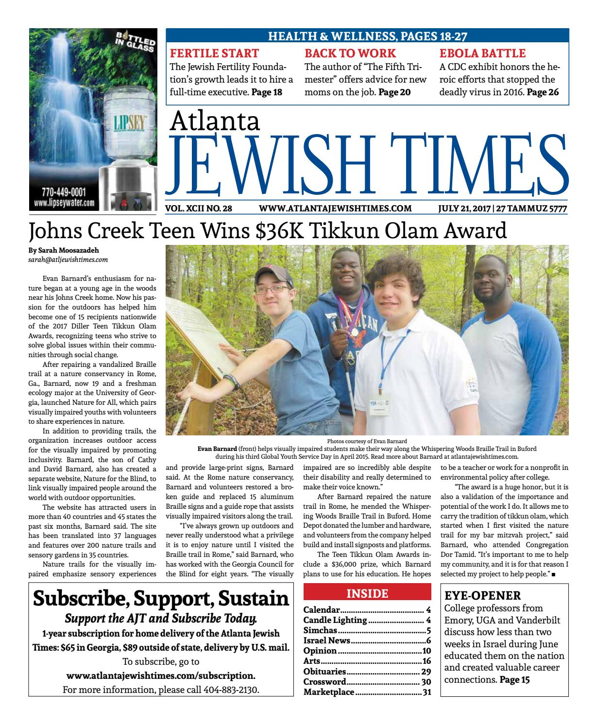 28, July 21, 2017 by Atlanta Jewish Times - issuu