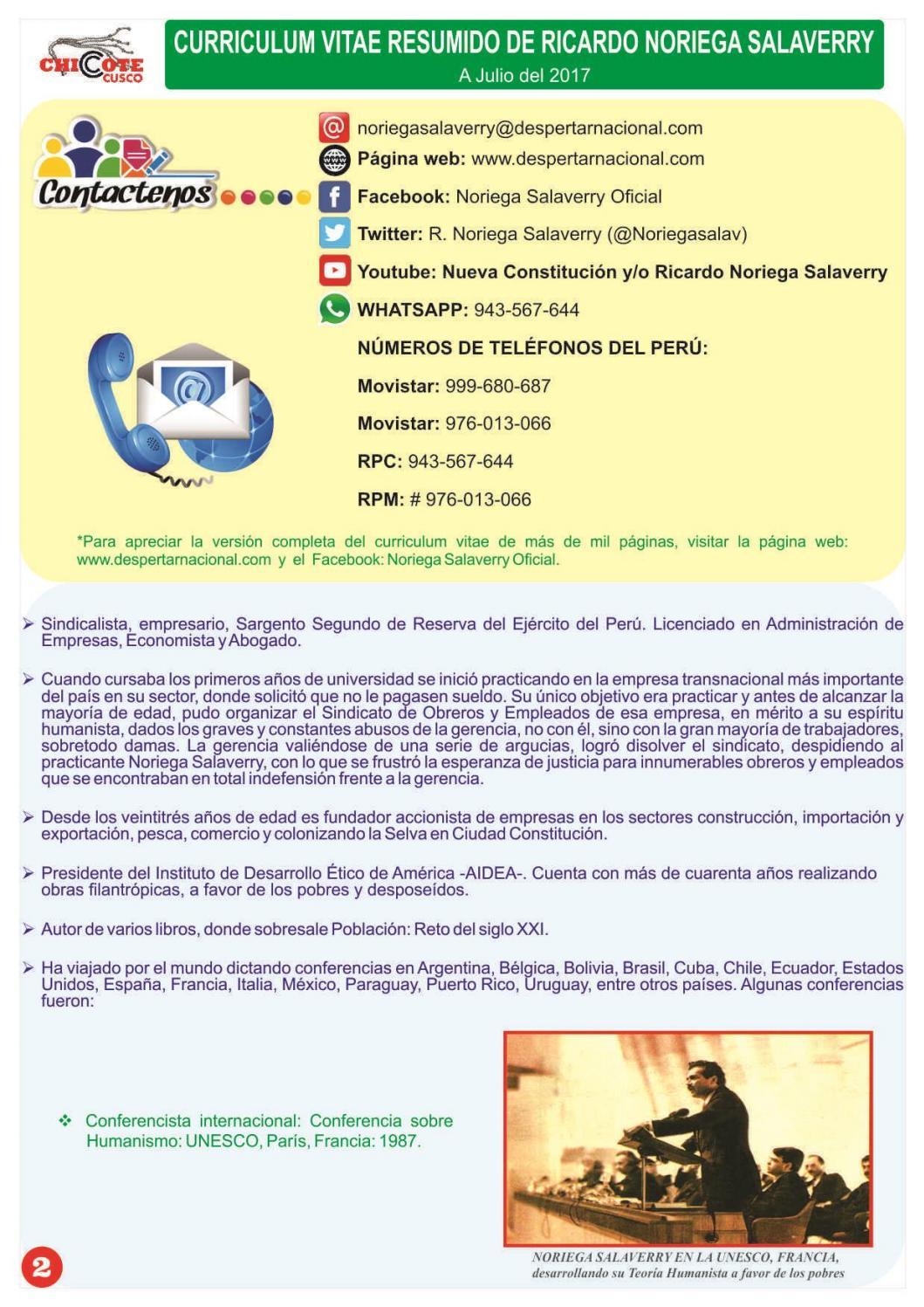 CURRICULUM VITAE DR. RICARDO NORIEGA SALAVERRY by DESPERTAR NACIONAL ...