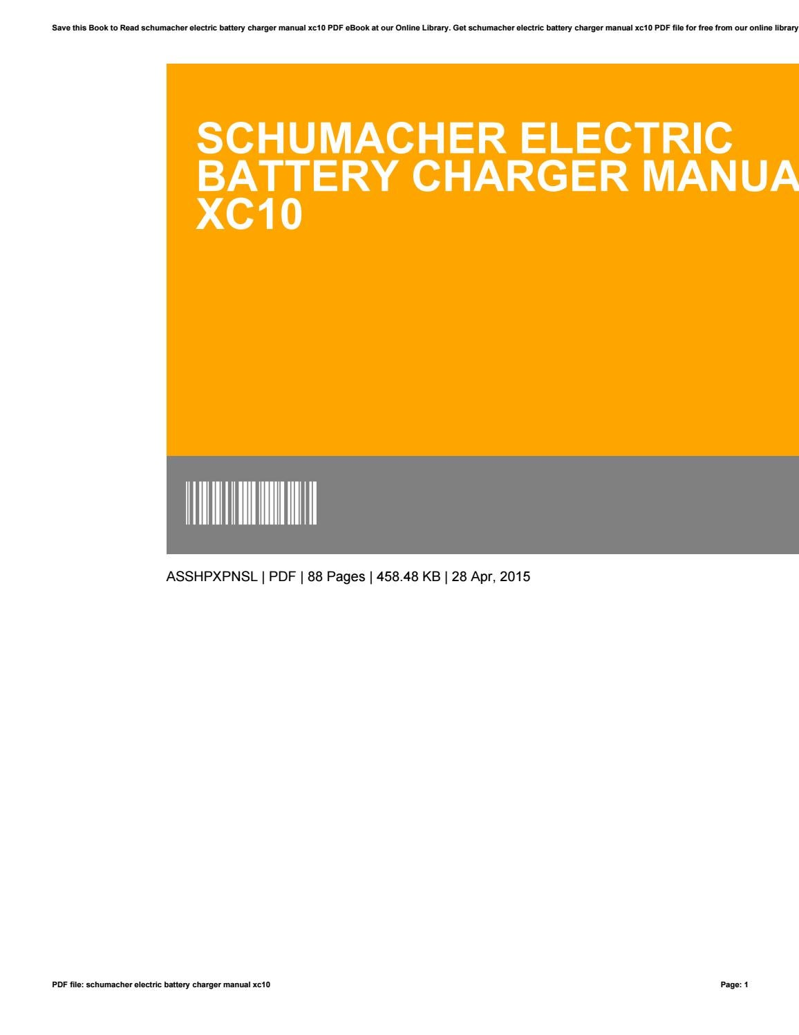Schumacher xc10 speedcharge 10 amp battery charger manual.